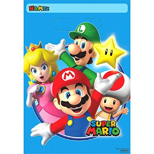Amscan 371554 Super Mario gefaltet Geschenktüten (Mario Dress Up)
