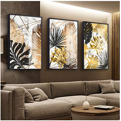 Arte de pared de lienzo Carteles de pintura de lienzo de hoja dorada e impresión moderna decoración cuadros de arte de pared para sala de estar dormitorio comedor-50x70 cm Sin marco