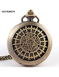 ShopyStore Bronze Vintage Bronze Openwork Quartz Pocket Watch Men Women Necklace Pendant Chain Uni