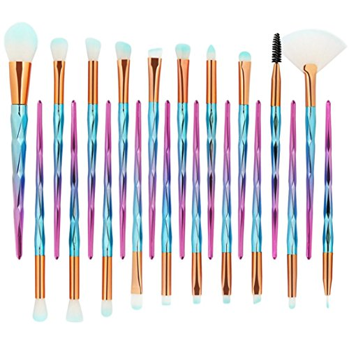 MML 2018 New Pro 20Pcs Makeup Brushes Set Powder Foundation Eyeshadow Eyeliner Lip Cosmetic Brush (20PCS, F)