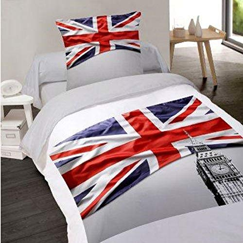 LINGE USINE Housse de Couette 140 x 200 + 1 Taie British Flag Coton