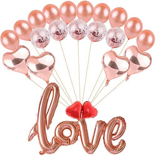 Ohighing 42 Zoll Große Love Luftballons Rose Gold Folienballon Roségold Herz Folienballon Helium Latex Roségold Ballons für Hochzeit Geburtstag Graduierung Valentinstag Brautdusche - Yoyo Ballon