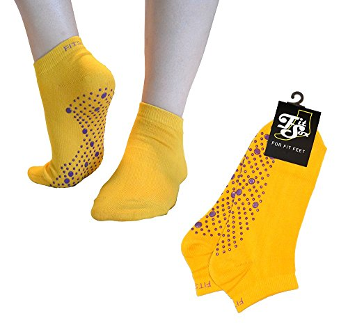 Pilates, Yoga, Barre, Kampfsport, Fitness, Tanz. Anti-Rutsch, Stürze Prävention Grip-Socken, Grip Socks (Gelb/lila)
