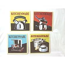 set cuadros lienzo canvas madera aparato menaje cocina retro vintage variado