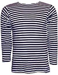 CUCUBA Camiseta Marinero TELNIASHKA Original de Rusia 100% Algodòn Bandas Azules Y Blancas – Idea de Regalo