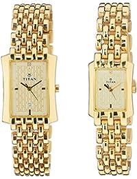 Titan Bandhan Gold Dial Couple Watch - NE19272927YM02