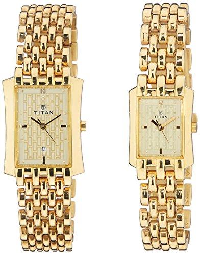 51m4C0eA iL - Titan NE19272927YM02 Bandhan Gold Couple watch