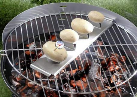 51m4C2lhBYL - Shanisha Kartoffelhalter,Grillguthalter,Männergeschenk,Ideal für Gasgrill Kugelgrill Holzkohlegrill usw, Leicht zu verwenden deswegen ideal für Camping,Thermometer inc,Garten Grillzubehör,Potato