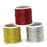 iSuperb Fil Métallique Cordon Lift Corde artisanale pour Carte Fabrication Bijoux Chaîne Emballage Cadeaux Or Argent Rouge Metallic Cord