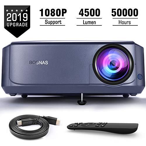 """Beamer 4500 Lumen Multimedia Full HD Video-Beamer unterstützt 1080P Full HD LED 50000 Stunden mit max 200"""" Display, Verbindung mit HDMI VGA SD USB AV Gerät, Heimkino Projektor"""