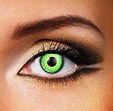 Funky Vision Kontaktlinsen Glamour - 3 Monatslinsen, Green, Ohne Sehstärke, 1 Stück