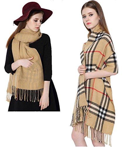 Longwu Kaschmir fühlen Decke Schal Super weich mit zwei Taschen und Quaste warme Schal für Frauen Khaki (Hut Besticktes Leinen)