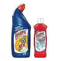 Harpic Powerplus Disinfectant Toilet Cleaner 1ltr Orange & Harpic Bathroom Cleaner 200ml Combo