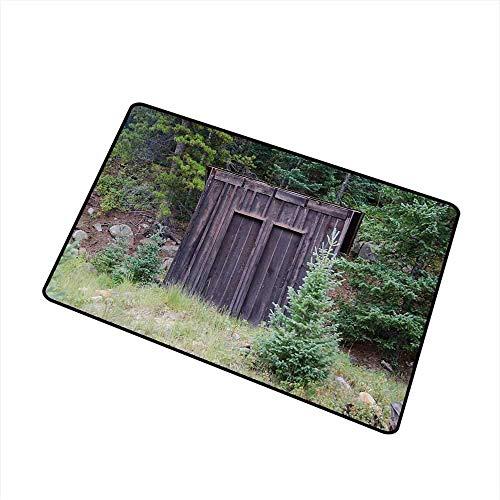 Eingangsmatte für den Außenbereich für gewerbliche Zwecke Farm Life House-Holztür der Cottage-Hütte in Woodland Leaves Kunstdruck für Eingänge, Garagen, Terrassen, dunkelbraune und grüne Badematte