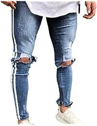 932634d491a9 Männer Reißverschluss Kleine Füße Skinny Jeans Männlichen Gebrochenes Loch  Blaue Seite Weißen Streifen Schwarz Streifen