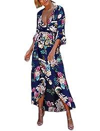 0c3f6af1ef026 Abito Donna Estivo Elegante Lungo Vintage Stampa Fiore Vestito Da Spiaggia  Chic Ragazza Corta V Scollo Vita Alta Irregolare Asimmetrico…