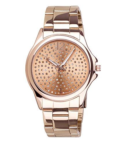 SIX Edelstahl-Armbanduhr, Roségoldfarben mit Gliederarmband, Ziffernblatt mit Strasssteinen, 3 Zeiger-Uhrwerk, rostfrei (274-359)