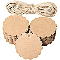 100 etiquetas redondas para colgar de Ruix, con cordel de 8 m, color marrón