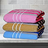 #7: Weavers Villa® Combo Pack of 3 Soft 450 GSM Full Size Cotton Bath Towels Set [Size: 72 CM X 150 CM]