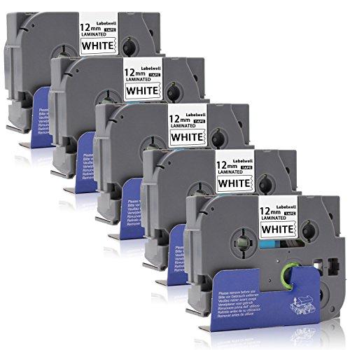 5x Labelwell 12mm x8m Compatibile Brother Tze-231 Tze231 Tz-231 Nastri Etichette, Nero su Bianco con Brother P-Touch PT H101C H110 H105 2030VP P750W E100 H101GB D210VP Etichettatrice,1/2' x 26.2'