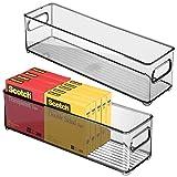 mDesign Juego de 2 cajas organizadoras con asas integradas - Caja de almacenaje para cocina, baño o material de oficina - Organizador de escritorio en plástico - gris