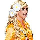 El disfraz de chapa flores artificiales flores 2er Set 70er años Pin de flores flores de pelo con diseño de margaritas clips de la joyería de disfraces de carnaval de accesorios para la cabeza de flores