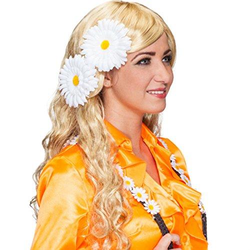NET TOYS Margeriten Haarblumen Hippie Ansteckblumen 2er Set 70er Jahre Blumenanstecker Flower Power Blumen Clips Gänseblümchen Haarschmuck Mottoparty Blumen Kopfschmuck Karnevalskostüme Accessoires