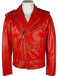 UNICORN Hommes Classique Brando le Style Motard - Réal Cuir Veste - Rouge #4Z