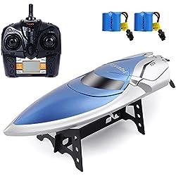 Barco RC Barco de alta velocidad 2.4GHz 20MPH con cápsula Función estándar Juguete teledirigido para niños con batería extra (Azul Blanco)