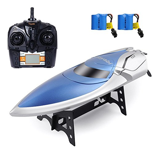 GizmoVine Remote Control Boats H106 High Speed 2.4GHz 12MPH Motor Servo Brushless Speedboat with Automatically Capsize Reset Function RC Speedboats for Kids (blue white)