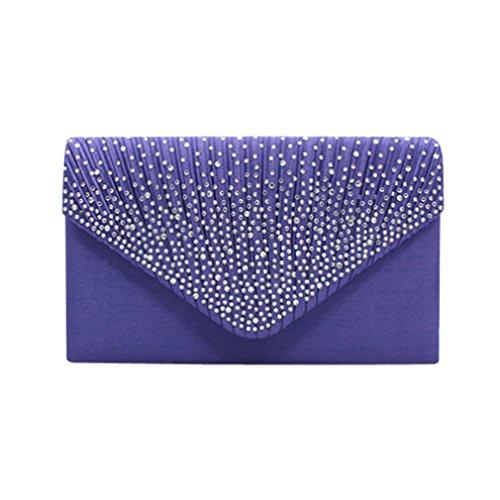 BURFLY ❤️ Frauen Abend Umschlag Handtaschen Satin Braut Diamante Clutch Bag Party Kleine Klappe Lila