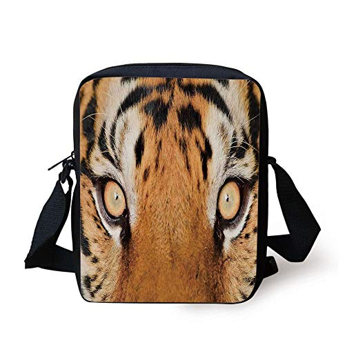 Safari Decor,Close up Tiger Eyes Hunter Look Feline Camouflage Coat Animal with Shady Colors Photo,Orange Black Print Kids Crossbody Messenger Bag Purse -