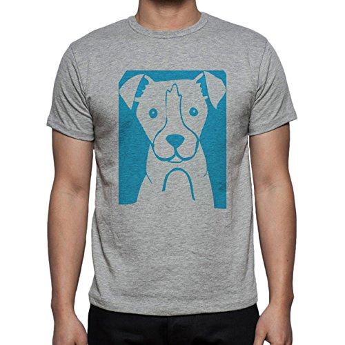 Dog Icon Pawn Blue Puppy Herren T-Shirt Grau
