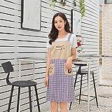 Neuheit Grill Schürzen, Home Korean Fashion Work Schürze Doppellagige Rundhalsschürze Doppeltasche Langarm-Quadratische Schürze (Farbe: Lila, Größe: 70 * 75cm) ( Farbe : Purple , Größe : 70*75cm )