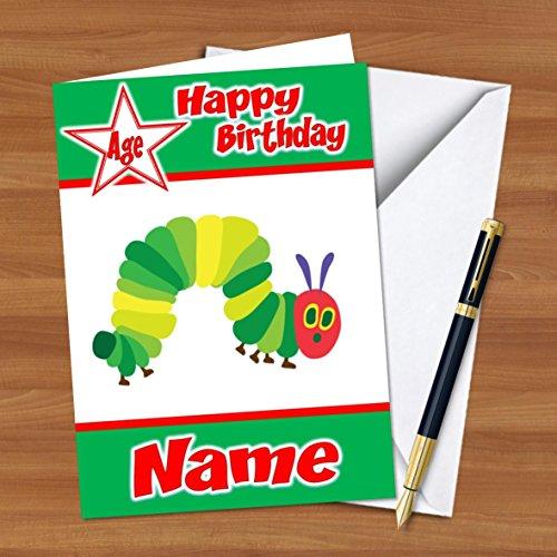 erpillar Personalisierte Geburtstags Grußkarte A5mit Umschlag-auf Hochglanz-Karte ()