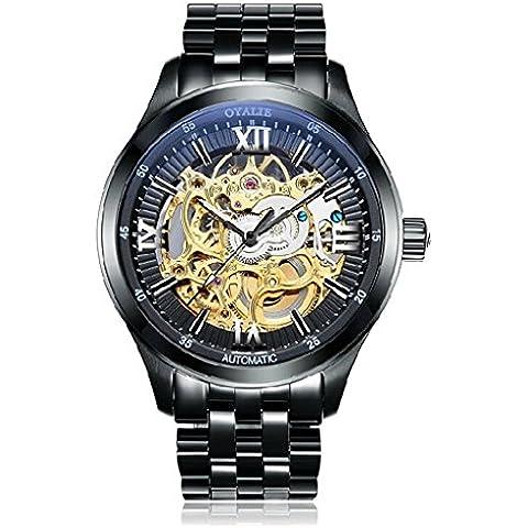 downj Uomo Classico Scheletro Meccanico Automatico in acciaio inox nero oro tono bracciale orologio