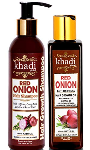 Khadi Global Red Onion Anti Hair Loss & Hair Growth Combo with Red Onion Oil 200ml + Red Onion Shampoo Shampoo 200ml Total 400ML Best Onion Oil For Anti Hair Loss Best Onion Shampoo For Hair Growth