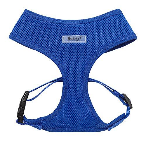 bunty-adjustable-soft-fabric-dog-puppy-harness-lead-blue-large