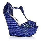 ShuWish UK Enya scarpe blu glitter con zeppa molto alta e aperte sulla punta - Blu glitter, Scamosciate, 39 EU