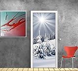 Stickersnews - Stickers porte déco Montagne neige réf 706 Dimensions - 63x204cm