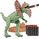 WOSTOO Dinosaur Set, Catapult Mouth Dinosaur Realistic Jurassic Green Dinosaur with Glowing Eyes, Sounds and for Toddlers Boys Girls