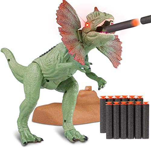 Catapult Mouth Dinosaur Realistic Jurassic Green Dinosaur with Glowing Eyes, Sounds and for Toddlers Boys Girls ()
