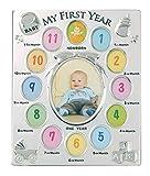Evergreen - Cornice portafoto placcata in argento antiossidante, motivo: My First Year, per neonato, per 1 foto da 10 x 13 cm e 12 foto da 4 x 5 cm (lingua inglese)