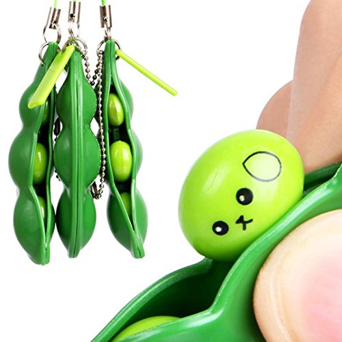 Kingko® Fun Squeeze-a-Bean Soybean Pendants Anti Stressball Stress Relieving Keychain Mobile Chain Fidget Toys