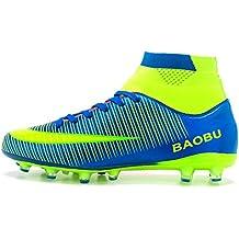 LANSEYAOJI Zapatos de fútbol Hombre Niños AG Spike Profesionales Botas de Fútbol Aire Libre Atletismo Zapatos