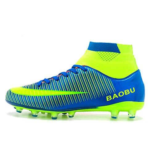 LANSEYAOJI Chaussures de Football Garçon Homme High Top Chaussures de Foot Crampons en Microfibres Enfant Adolescents Adulte Profession Athlétisme Entrainement Chaussures de Sport,Bleu,EU42