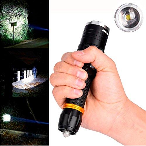 Sisit Einstellbare Taschenlampe Zoomable Taschenlampe, 3000 Lumen Zoombare CREE XML T6 LED 18650 Taschenlampe Fokus Taschenlampe (A)