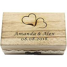 YS2016 - Caja para alianzas grabada, rústica, de madera envejecida y detalle de encaje