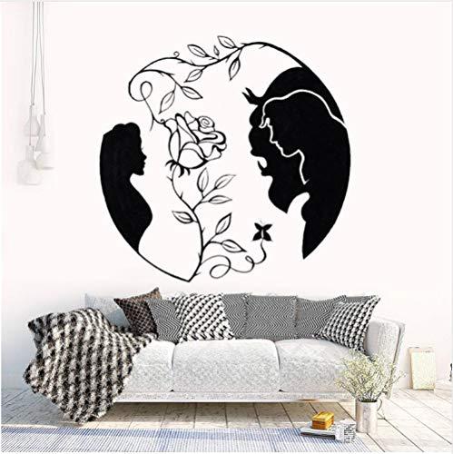 nd das Biest Vinyl Wandtattoo Neue Design Rose Wandaufkleber Inspiriert Liebe Wandkunst Wandbild Schlafzimmer 42 * 41 cm ()