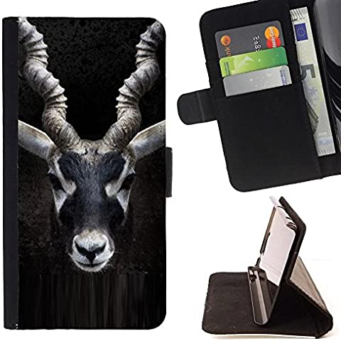 Pelle Portafoglio Custodia protettiva Cassa Leather Wallet Case for LG CLASS / LG H740 /LG ZERO H650 / CECELL Phone case / / impala horns black nature minimalist / - Impala Horn